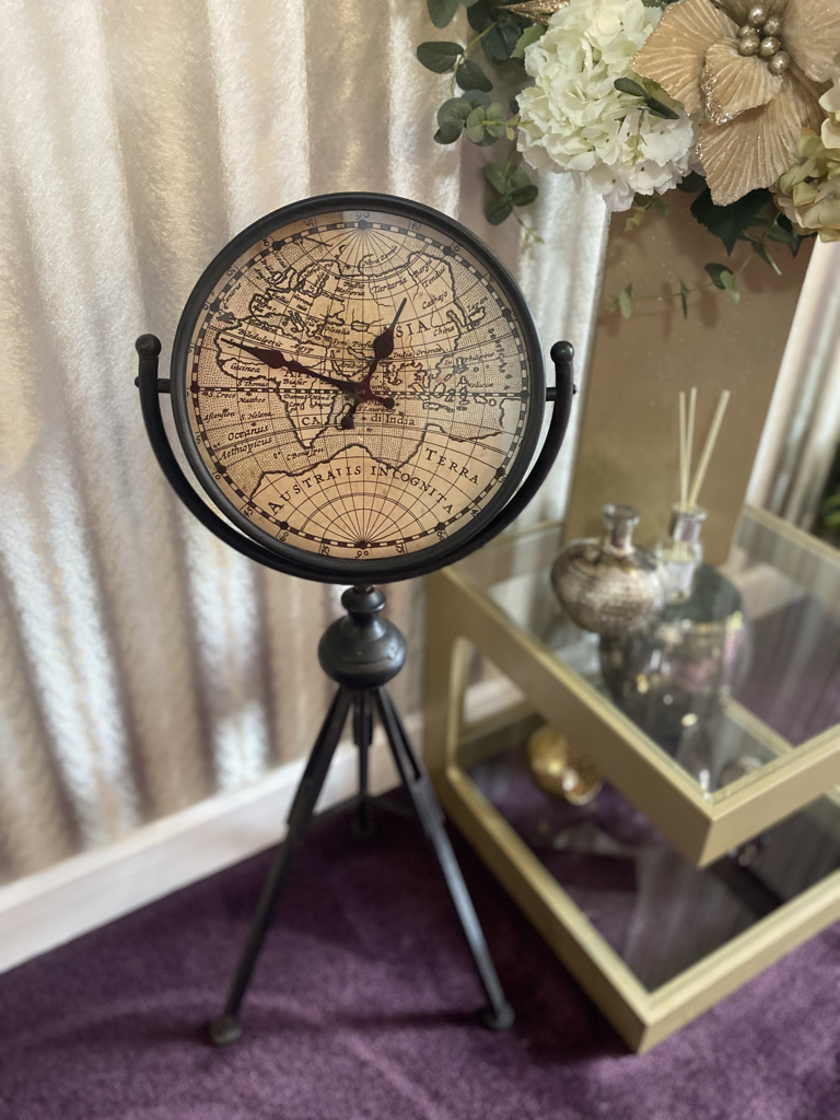 Tripod clock with world clock face sold by Mackenzie Paige Interiors in Hampshire - image 2