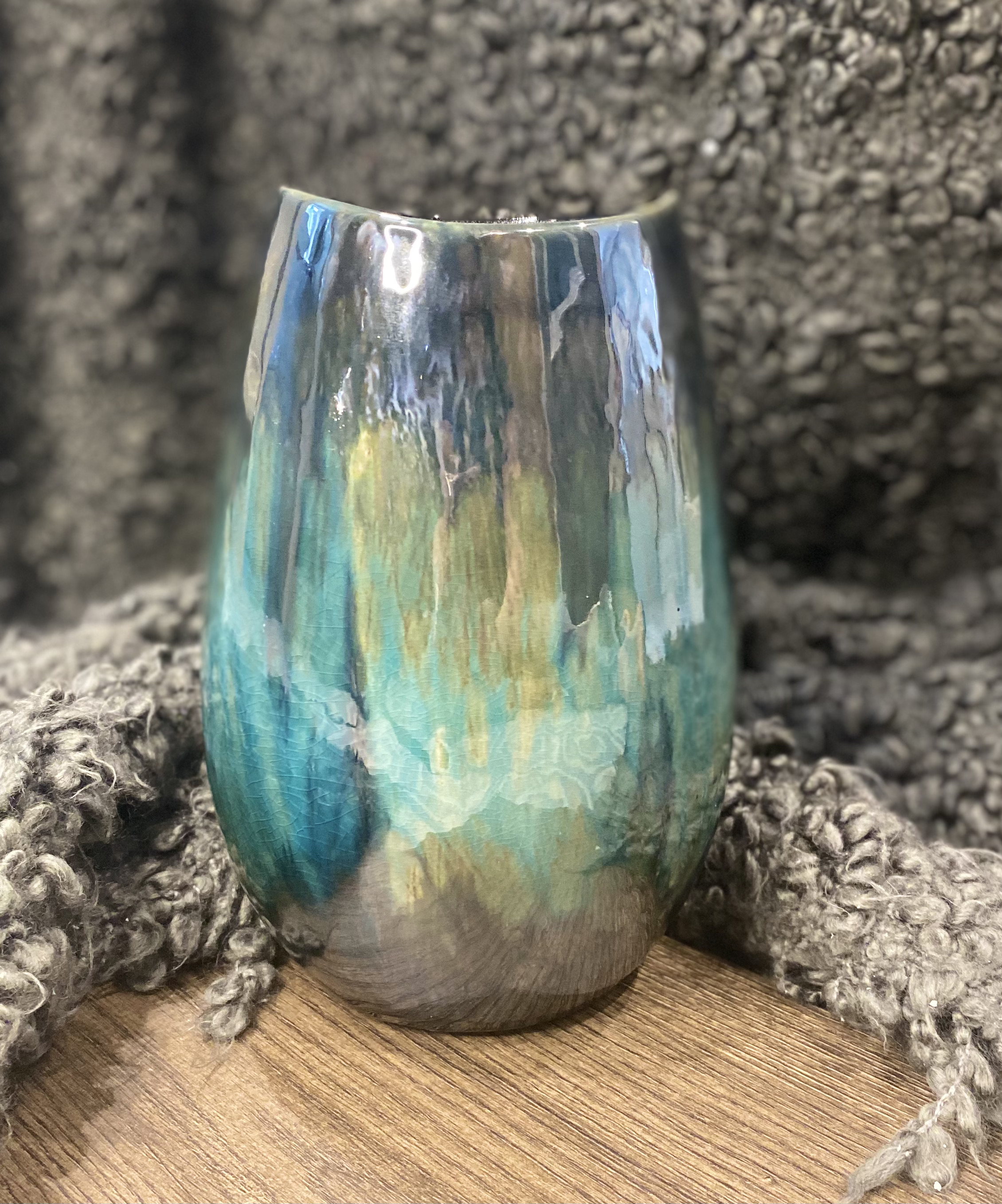 Reactive glazed vase sold by Mackenzie Paige Interiors in Hampshire